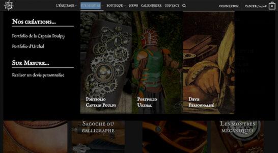 Le site de Time Warp Shop - des menus larges intégrant des images