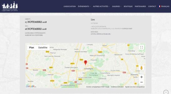 Le module de calendrier propose une localisation GMaps des events