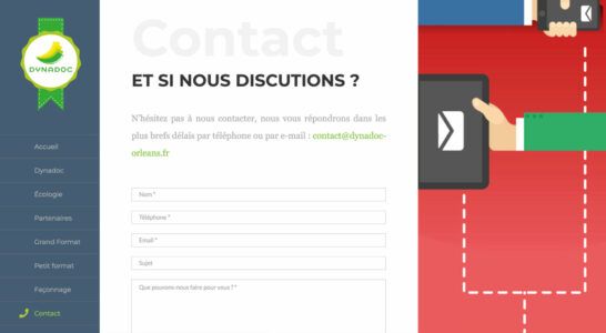 Le site internet de Dynadoc - le formulaire de contact permet d'envoyer des pièces jointes
