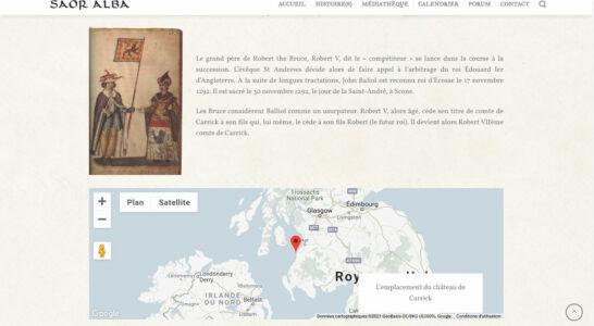 Le site de l'association Saor Alba - Utilisation de l'intégration de Gmaps