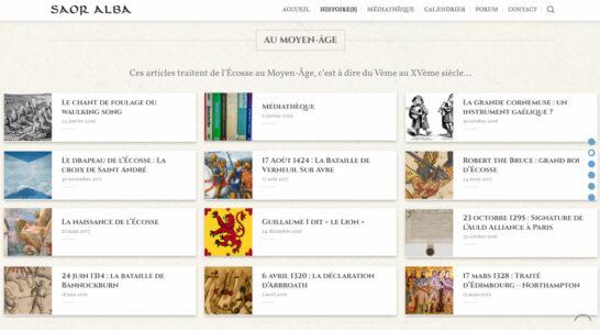 Le site de l'association Saor Alba - détourement de l'outil blog pour en faire une base de connaissances